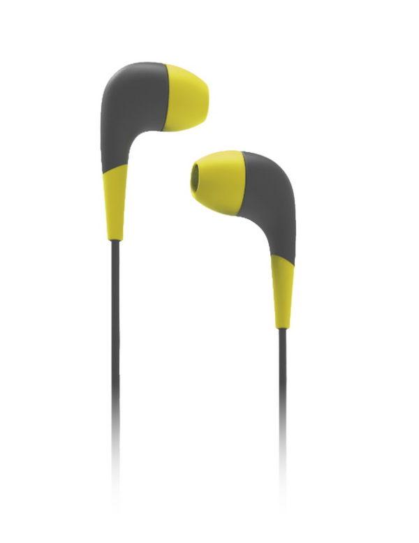Внутриканальные наушники Curve, Smartbuy желто серые