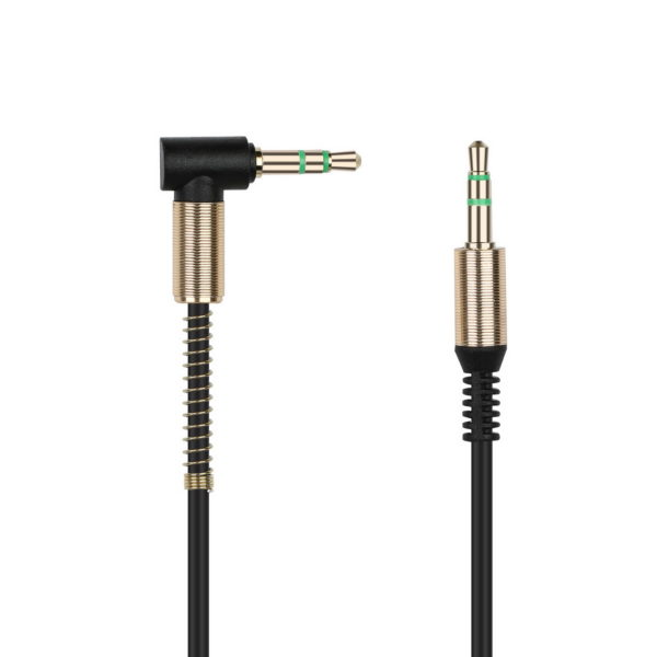 AUX кабель 3.5-3.5 мм (M-M), 1 м, черный, нейлоновая оплетка, (А-35-35 black)