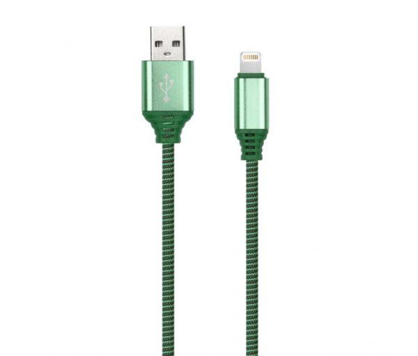 Дата-кабель Smartbuy 8pin в нейлоновой оплётке Socks, длина 1 м, 2А, зеленый