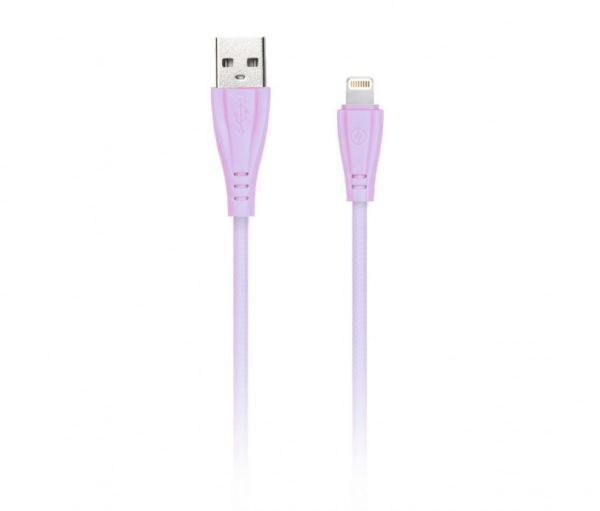Дата-кабель в резиновой оплетке Gear, длина 1м, 2А, розовый