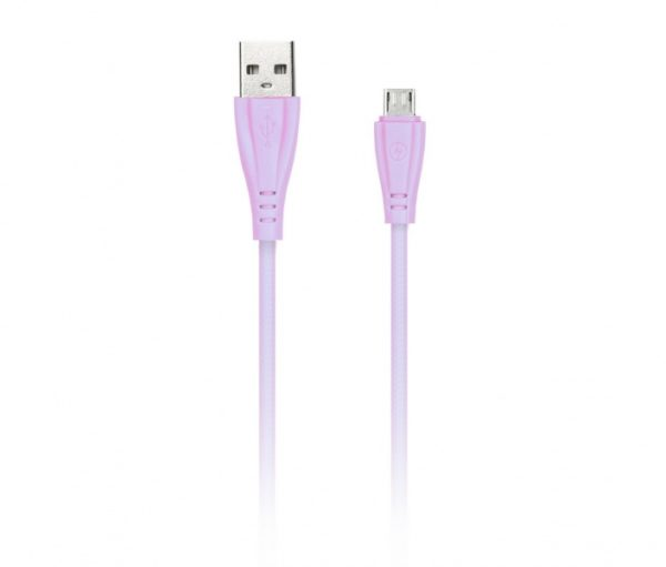 Дата-кабель Smartbuy MicroUSB в резиновой оплетке GEAR, длина 1м, 2А, розовый